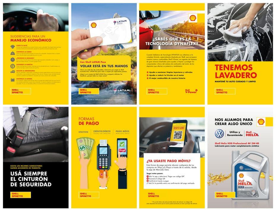 afiches con tips y publicidad Shell