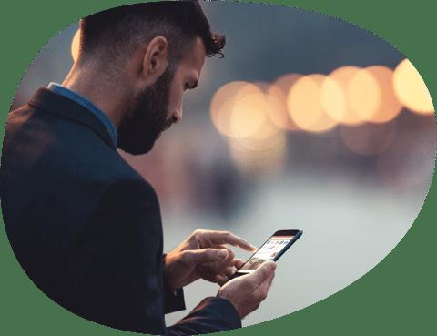 Man browsing mobile
